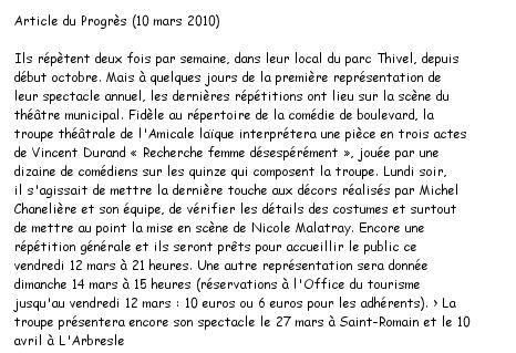 Copie de l'article du Progrès du 10 mars 2010