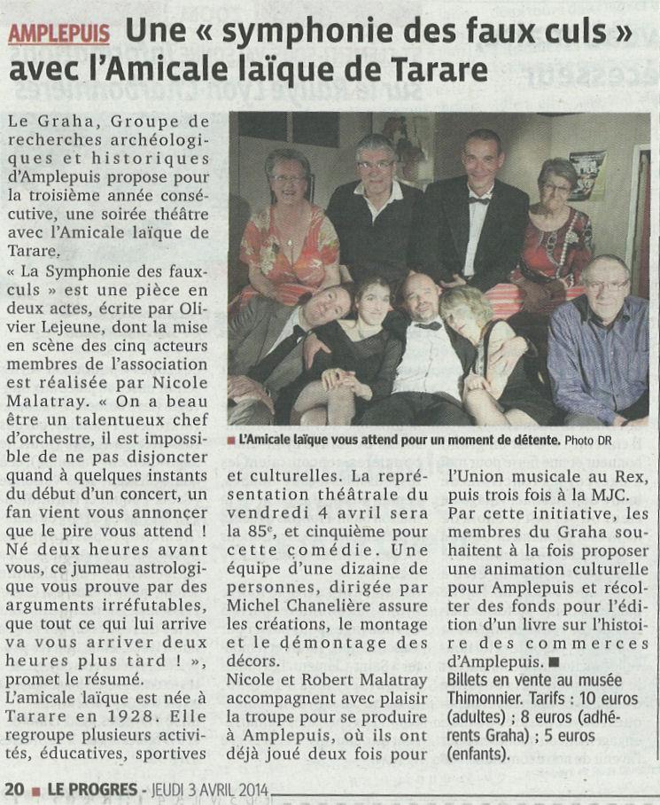La représentation à Amplepuis par Le Progrès du 03 avril 2014