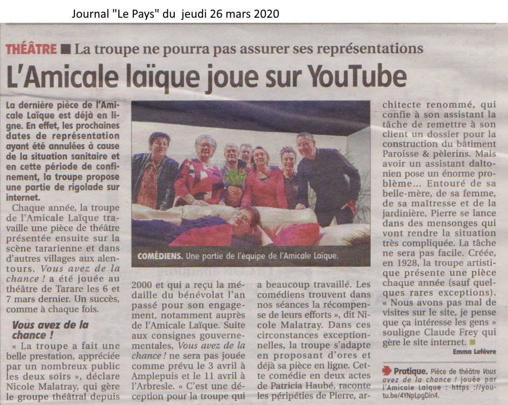 Article le pays du 26-03-2020